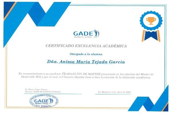 Acreditación académica: Anissa María Tejada García.