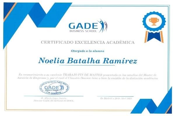 Acreditación académica: Noelia Batalha Ramírez